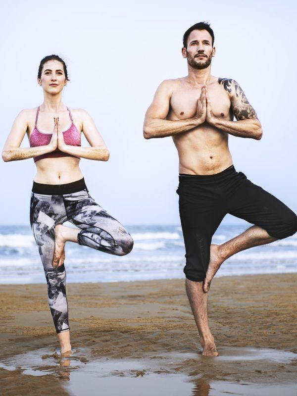 Yoga Beach Exercise Relaxation Baltic Coast Pose Concept